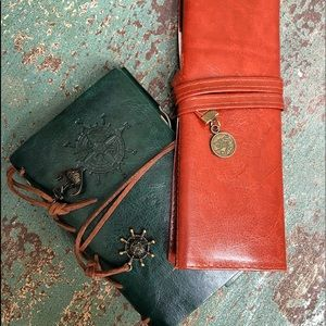 Leather journal and pencil carrying case